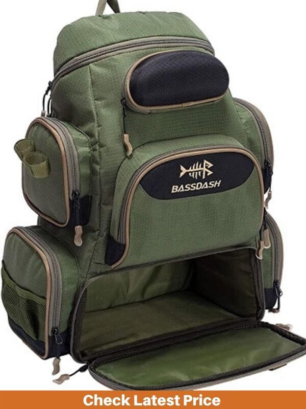 Bassdash Fishing Tackle Backpack with Rod Holder