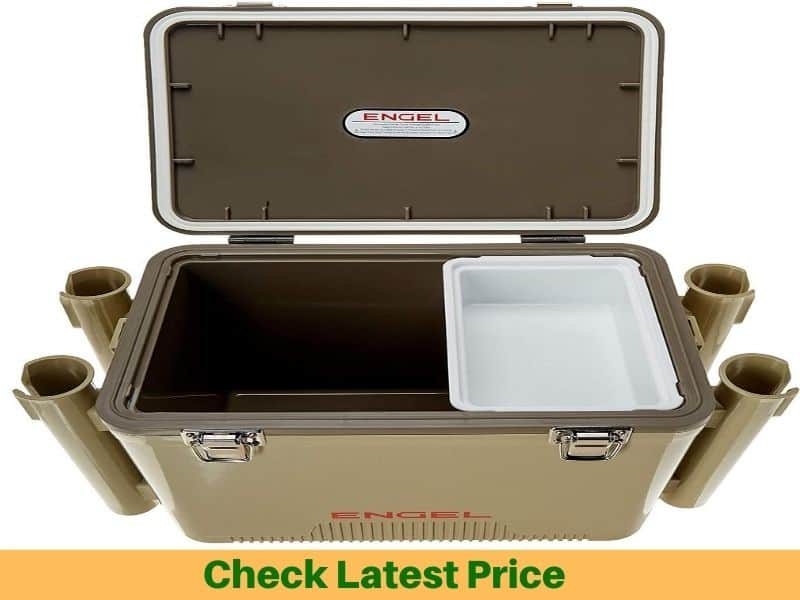 Fishing cooler with rod holders